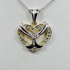 Diamond Heart Pendant White and Yellow 14K Gold 0.60Ct 7.1 grams