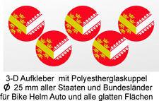 5 x 3 D Flaggen Elsass Aufkleber Auto Caravan Bike Fahrrad Helm Handy Lapto