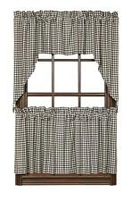 """COUNTRY PRIMITIVE BROWNSTONE CHECK TIER CURTAINS 24"""" X 36"""" SET OF 2"""