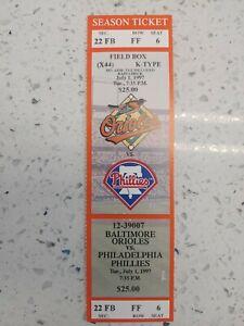 7/1/97 Philadelphia Phillies Baltimore Orioles Full Ticket Stub Palmeiro Ripken