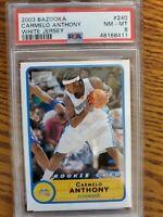 Carmelo Anthony 2003 Bazooka #240 Basketball Rookie White Jersey PSA 8 (Pop 3)