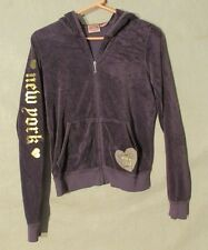 W6190 Juicy Couture Juniors Large Purple/Gold/White Velour Full Zip Hoodie