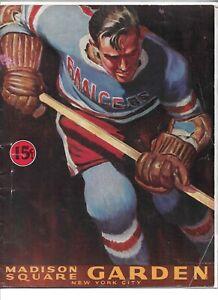 Vintage 1944 New York Rangers gameday program vs. Toronto Maple Leafs