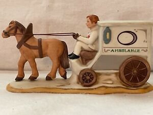 CHRISTMAS COLONIAL VILLAGE BY GEORGE LEFTON: HORSE DRAWN AMBULANCE W/DRIVER