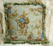 """18"""" Lovely Easter Bunny Rooster Country Shabby Chic Needlepoint Pillow Cushion"""