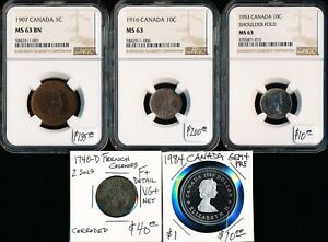 (1740-1984) FIVE CANADA OLD COINS > CAT VALUE ~$395 USD > SEE IMAGES >  NO RSRV