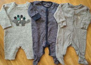 Baby Boy Sleepsuit Bundle 0-3 months dinosaur giraffe knit romper Next Georg(57)