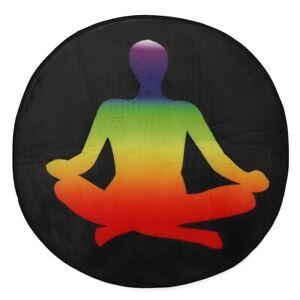 Round Meditation Yoga Mat Floor Soft Seat Pad 60x60 cm Chakra Printed Non Slip