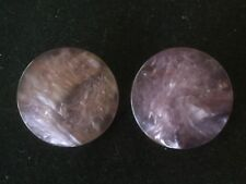 """Vintage Clip-On Earrings.  Lavender Marbled Circles.  Plastic. 1"""" D.  Box 2"""
