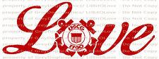 Love Coast Guard Vinyl Decal USCG United States Wife Girlfriend Sticker Military