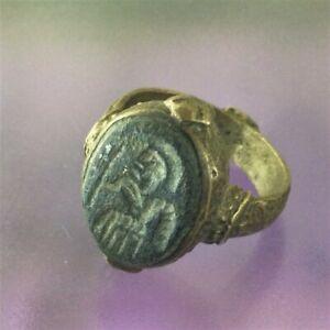 ISLAMIC Ring Muslim Persian Antique Amulet Round Size 9 Rare Authenic Ancient S6