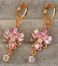 18K Yellow Gold Filled- 1.6'' Lotus Flower Pink Topaz Gemstone Cocktail Earrings