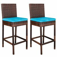 Long-lasting Wicker Barstool Aluminum Frame Outdoor Chairs W/ Cleanable Cushion