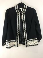 Chico's Size 1 Med Jacket Artisan Tapestry Trim Black Cotton Open Front $139 NEW