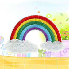 2x Rainbow Peace God Love Cloud Hierro en parche apliques coser insignia bordado