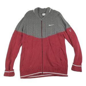 Roger Federer Nike Premier Sweater Training Jacket Dark Red/Grey Mens Medium