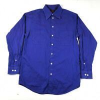 Vintage Grateful Dead Button Down Shirt Mens 15 32/33 Blue Purple Long Sleeve *
