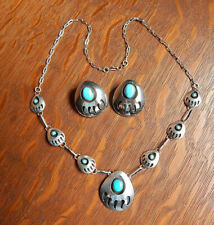 Vintage Navajo Bear claw Turquoise Shadow Box Sterling Silver Necklace Earrings