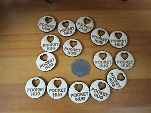 15 x Little Hug Token, Pocket Hug wood engraved love thank you gift