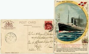 IRELAND 1906 CITY of DUBLIN STEAM PACKET CO SHIP CONNAUGHT PPC to USA