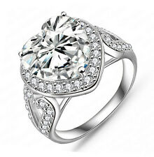 Women's Heart Shape Stone White Gold Plated Wedding Engagement Rings Size 8 R159