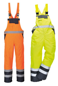 Men's Hi Vis Contrast Bib and Brace Waterproof Workwear Ulined Dungarees Overall