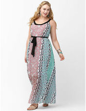 Lane Bryant Plus Size 18/20 2X Bohemian Print Chiffon Maxi Dress Pink Blue Black