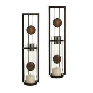 DANYA B Contemporary Metal Brown Wall Candle Sconces with Antique Patina Medalli