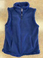 Laura Scott Women's Blue Collared Fleece Zip up Pockets warm Vest size Small