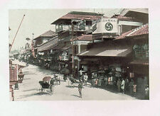 A Typical Japanese Street Scene w/ Rickshaws- 1902 Japan Lithograph NICE