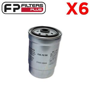 6 x WCF129 Wesfil Fuel Filter - Hyundai CRD i30, i40, Kia CRD - 319222B900
