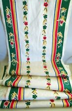 17 Feet Uncut Vintage Linen Floral Dish Towel Fabric Towelling, Green Yellow Red