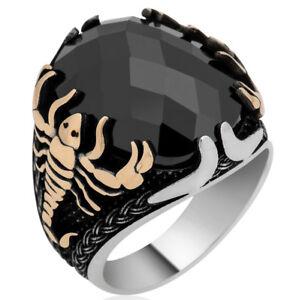 Solid 925 Sterling Silver Black Zircon Stone Scorpion Figure Men's Ring