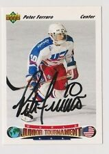 91/92 Upper Deck Peter Ferraro Team USA Autographed Hockey Team Card