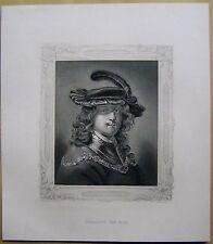 REMBRANDT VAN RYN PORTRAIT steel engraving Acier Pli 1877