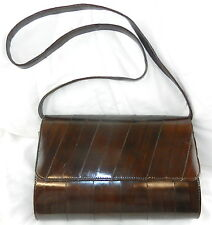 Korean Genuine Eel Skin Hand Bag Purse Clutch w/ Removable Strap ~ Excellent T10