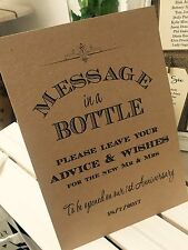Vintage/Rustic 'Message in a bottle' wedding sign - guestbook alternative!