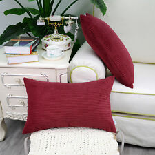 2PCS Rectangle Pillows Cushions Throws Cover Corduroy Stripes 30cmX50cm Burgundy