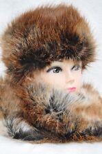 Fur Hat and Scarf Shawl premium faux fur BROWN TEDDY Stylish and distinguish
