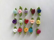 SMALL MINI SATIN RIBBON ROSE BUDS FLOWERS **UK SELLER** Various Colours