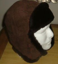 UGG $195  Men's S/M Fur Lined Trapper Warm Winter Hat Solid Brown Suede NWOT
