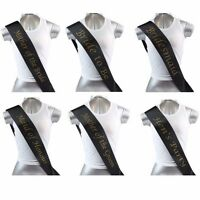 HENS NIGHT BRIDAL SASH SASHES BRIDE BRIDESMAID MAID OF HONOUR -  BLACK + GOLD