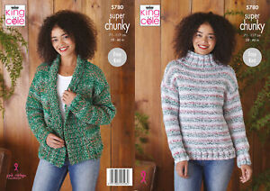 King Cole Super Chunky Knitting Pattern Easy Knit Sweater & Cardigan 5780