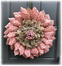 BURLAP FLOWER WREATH PINK CHEVRON BURLAP DOOR HANGER