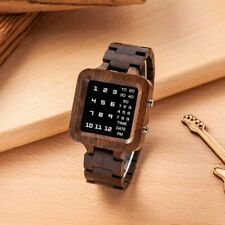 BOBOBIRD EBONY WOOD DIGITAL LED DISPLAY UNIQUE 2020 WOODEN WATCH SQUARE RELOIO