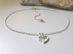 Sterling Silver Heart Anklets, Adjustable Solid Silver Love Charm Ankle Bracelet