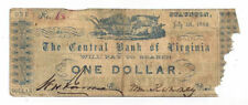 1862 The Central Bank of Virginia, Staunton - $1 Note on Recycled Paper No.48