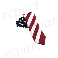 "New Poly print Men's skinny 2.5"" Neck Tie novelty American Flag red white blue"