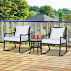 3pc Outdoor Rocking Chair Set Coffee Table Rocking Chairs Garden Furniture