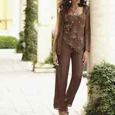 Mother Bride Groom Women's Wedding beaded 3PC pant set suit formal small